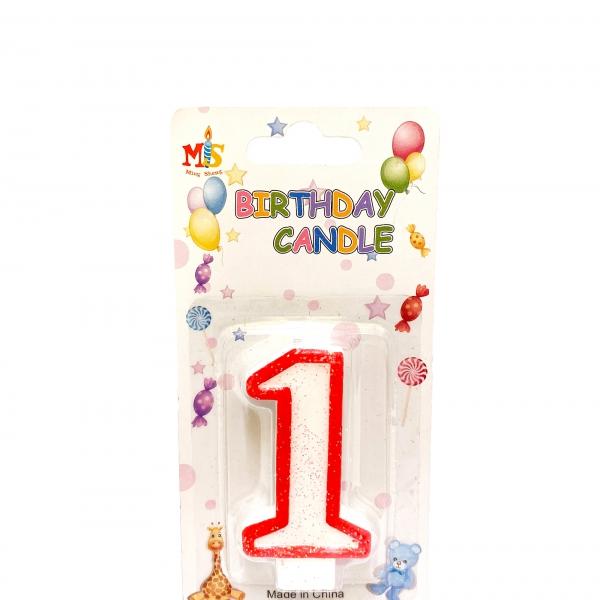 Свещичка за торта Цифра 1