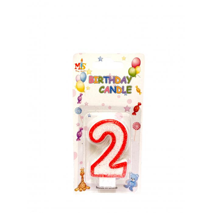 Свещичка за торта Цифра 2