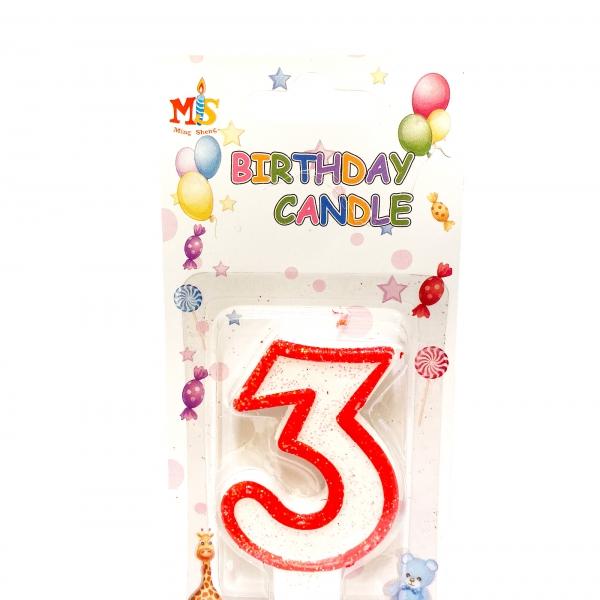 Свещичка за торта Цифра 3