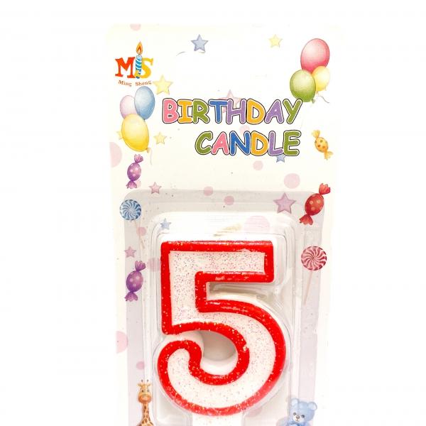 Свещичка за торта Цифра 5