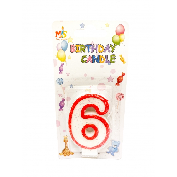 Свещичка за торта Цифра 6