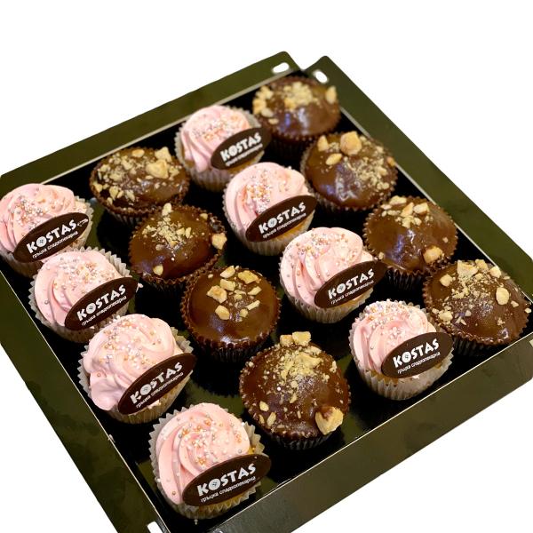 Кутия мини къпкейк ягода и шоколад